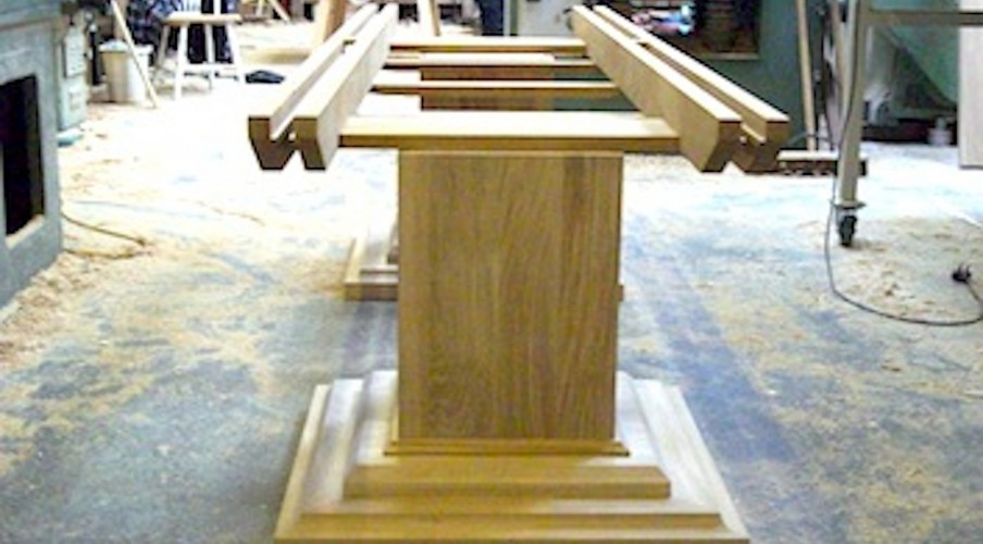 Oak table base